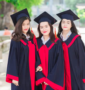 Three young women graduating